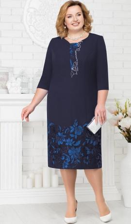 3-1462 Tumši zila kleita ar mežģīņu dekoru