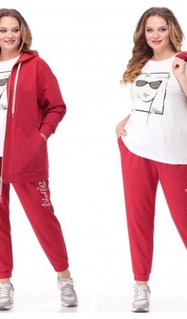 LIA6718 Trīsdaļīgs sarkans/balts kostīms ar kapuci