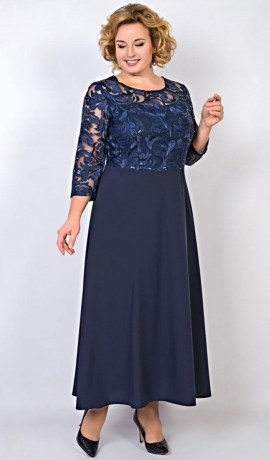 LIA2269 Tumši zila kleita ar mežģīņu augšdaļu