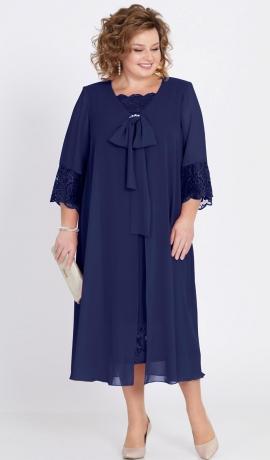LIA2251 Tumši zila kleita ar šifonu un mežģīnēm