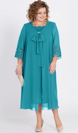 LIA2253 Tirkīzkrāsas kleita ar šifonu un mežģīnēm