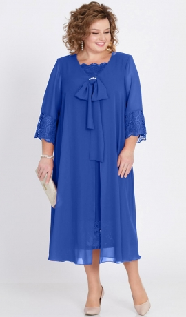LIA2249 Zila kleita ar šifonu un mežģīnēm