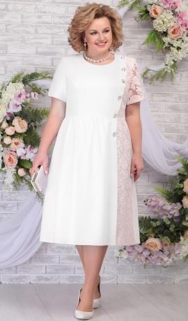 LIA5821 Gaiši rozā/balta kleita