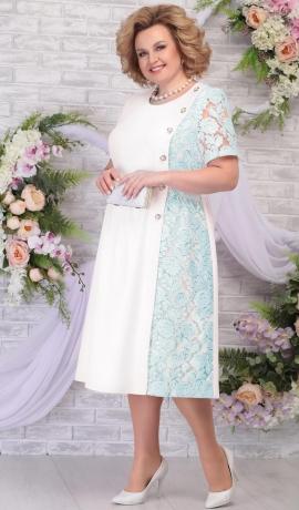 LIA5822 Gaiši zila/balta kleita
