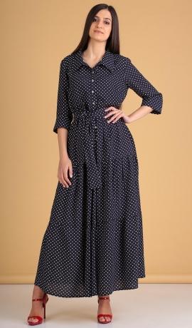LIA5993 Gara zila kleita ar punktiņiem