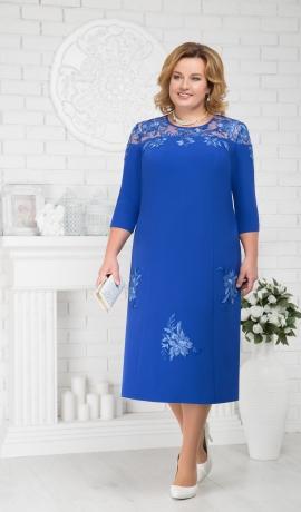 LIA1878 Zila kleita ar mežģīņu plecu daļu