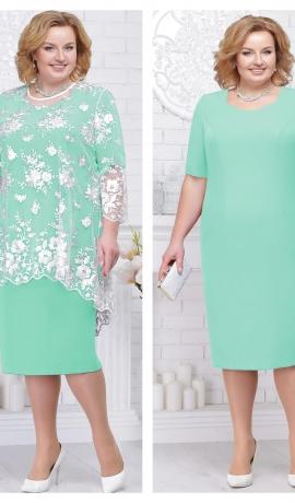 LIA2060 Zaļa ar baltu mežģīni kleita