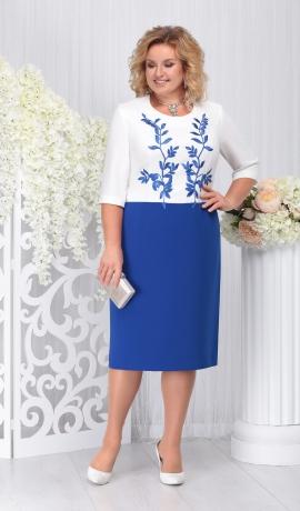 LIA3956 Zila ar baltu kleita