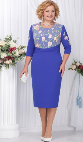 3-1284 Zila kleita ar ziedu uzšuvēm
