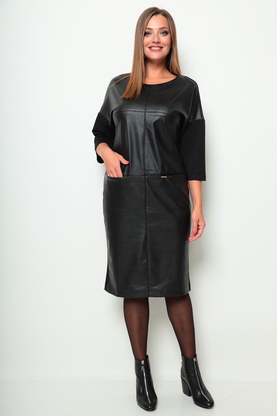LIA7714 Melna trikotāžas/eko ādas kleita