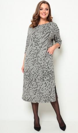 LIA7702 Pelēka trikotāžas kleita ar rakstu