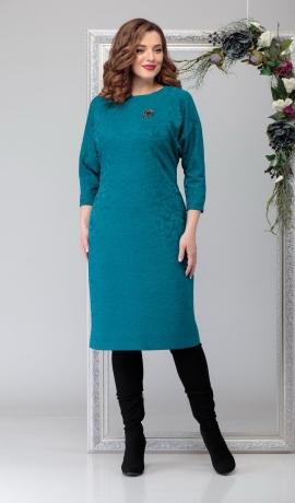 LIA6737 Zila trikotāžas kleita