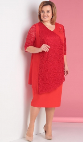 LIA2295 Sarkana kleita ar šifonu un mežģīni
