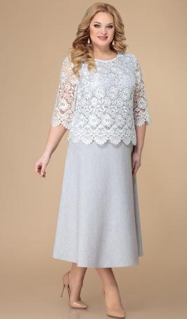LIA7370 Pelēka kleita ar mežģīni