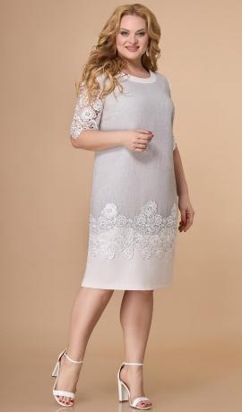 LIA7361 Pelēka kleita ar mežģīņu piedurknēm