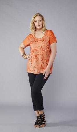 1-1059 Oranžs krekls ar lapu rakstu.