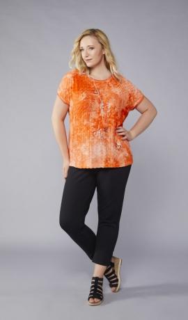 1-1060 Oranžs krekls ar sudraba apdruku