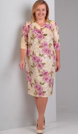 LIA1281 Bēšas krāsas kleita ar ziediem