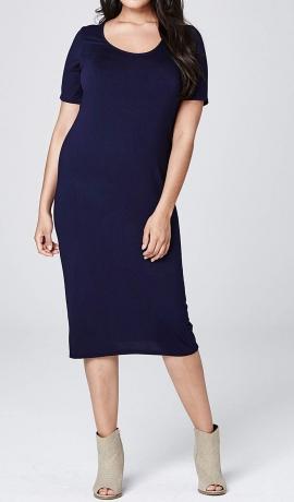 3-0589 Tumši zila midi džersijas kleita