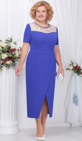 3-1471 Zila kleita ar ziedu izšuvumu dekoltē daļā