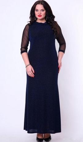 3-0614 Tumši zila garā kleita ar tīkliņa piedurknēm.