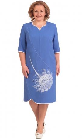 LIA1124 Gaiši zila kleita ar rakstu