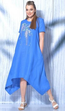 LIA5828 A-silueta lina kleita ar izšuvumu