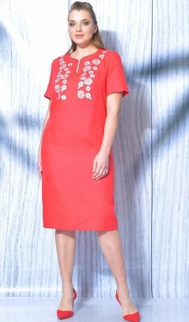 LIA5838 Sarkana lina kleita ar izšuvumu