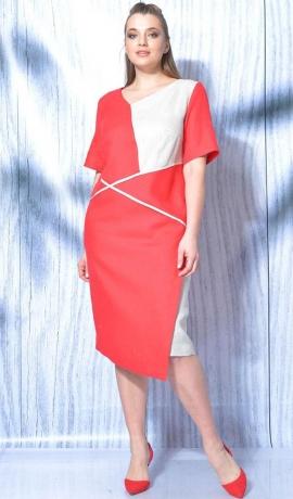 LIA5843 Sarkana ar baltu lina kleita