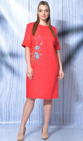 LIA5839 Sarkana lina kleita ar izšuvumu