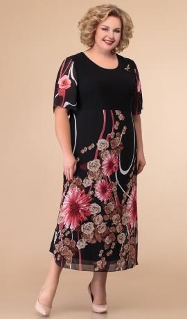LIA5705 Tumša kleita ar ziediem