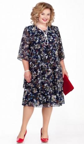 LIA5703 Tumša raiba kleita