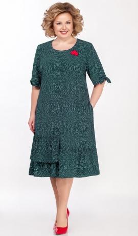 LIA5997 Zaļa kleita ar kabatiņām