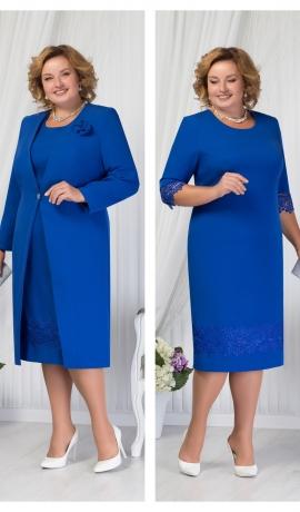 LIA1463 Gaiši zila kleita ar garu žaketi