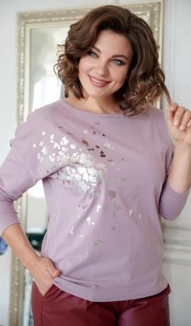 LIA8042 Rozā džemperis ar printu
