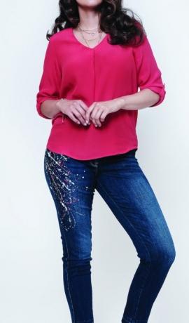 5-0409 Zili džinsi ar krāsainu printu