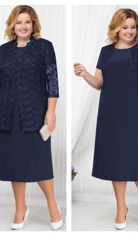 LIA1797 Tumši zila kleita ar mežģīņu žaketi