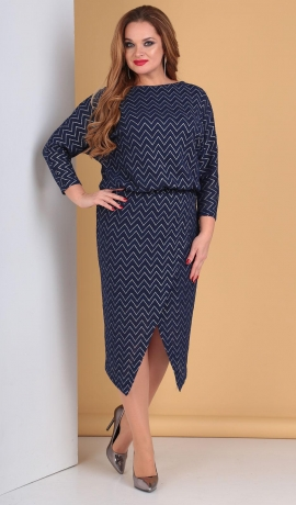 LIA5049 Zila ar sudraba krāsu kleita