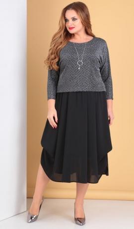 LIA5046 Trikotāžas/šifona kleita