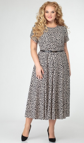 LIA7283 Bēša kleita ar melnu printu