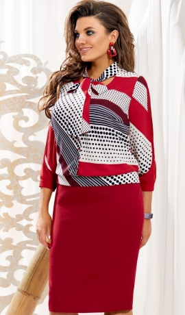 LIA5322 Sarkana kostīmu imitējoša kleita