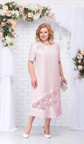 LIA2796 Pūderkrāsas lina kleita