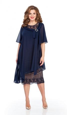 LIA6070 Tumši zila divu audumu kleita