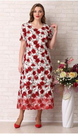 LIA6049 Balta kokvilnas kleita ar rozēm