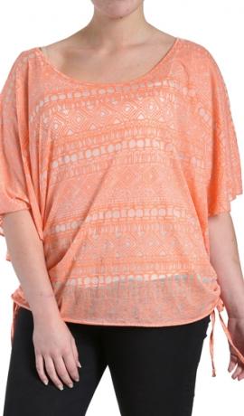 1-0986 Gaiši oranžs acteku raksta tops