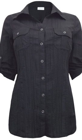 1-0985 Melns krekls ar spiedpogām