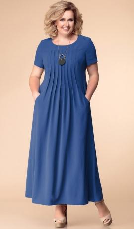 LIA5067 Zila kleita ar ielocēm