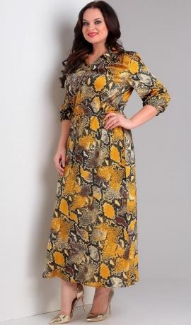 LIA2741 Dzeltena ar brūnu A silueta kleita