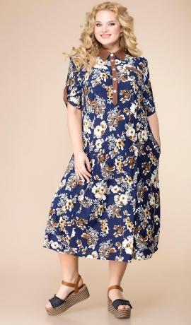 LIA7266 Zila kleita ar ziediņiem