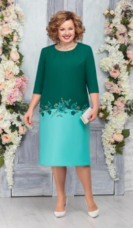 LIA5360 Zaļu toņu kleita